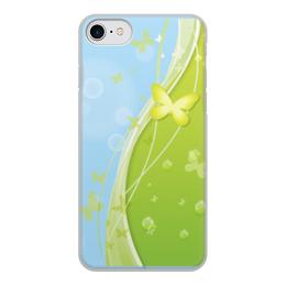 """Чехол для iPhone 8, объёмная печать """"Летний мотив"""" - бабочки, лето, небо, трава, мыльные пузыри"""