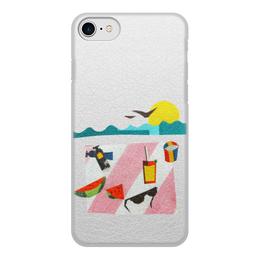"""Чехол для iPhone 8, объёмная печать """"Отпуск"""" - лето, фрукты, солнце, море, пляж"""