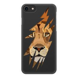 """Чехол для iPhone 8, объёмная печать """"Лев ( Lion)"""" - лев, царь зверей, хищник"""