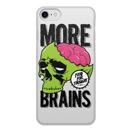"""Чехол для iPhone 8, объёмная печать """"Зомби"""" - череп, zombie, мозги, brains"""