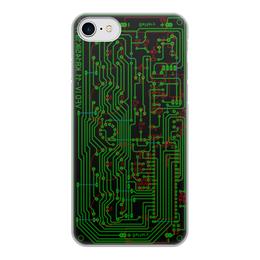 """Чехол для iPhone 8, объёмная печать """"Печатная плата"""" - электрика, электроника, печатная плата, технологии, микросхема"""