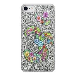 """Чехол для iPhone 8, объёмная печать """"Символ Ом в стиле мехенди"""" - узор, ом, индия, индуизм, мехенди"""