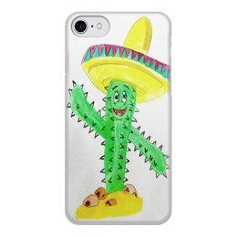 """Чехол для iPhone 8, объёмная печать """"Кактус"""" - счастье, шляпа, самбреро, кактус"""