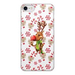 """Чехол для iPhone 8, объёмная печать """"новый год"""" - новый год, зима, подарки, снежинки, олень"""