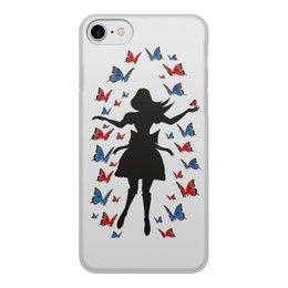 """Чехол для iPhone 8, объёмная печать """"Полет"""" - бабочки, полет, алиса"""