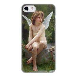 """Чехол для iPhone 8, объёмная печать """"Подстерегающая любовь (Вильям Бугро)"""" - картина, живопись, купидон, амур, бугро"""