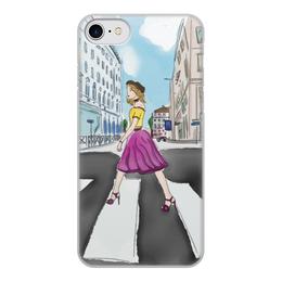 """Чехол для iPhone 8, объёмная печать """"Девушка в городе"""" - рисунок, девушка, скетч, иллюстрация"""