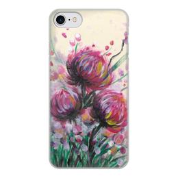 """Чехол для iPhone 8, объёмная печать """"Розовый репейник"""" - цветы, живопись, розовый, букет, лето"""