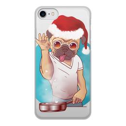 """Чехол для iPhone 8, объёмная печать """"Новогодний Мопс мем"""" - новогодние, с приколами, мопс, к новому году, с мопсами"""