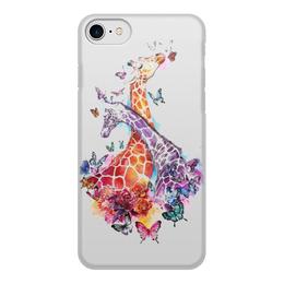 """Чехол для iPhone 8, объёмная печать """"Жирафы и бабочки"""" - любовь, бабочка, жираф"""