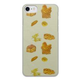 """Чехол для iPhone 8, объёмная печать """"Выпечка"""" - пончик, париж, круассан, булка"""