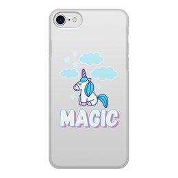 """Чехол для iPhone 8, объёмная печать """"Magic"""" - голубой, розовый, magic, unicorn, единорог"""