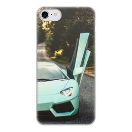 """Чехол для iPhone 8, объёмная печать """"Lamborghini"""" - авто, половинка, фара, престиж"""