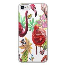 """Чехол для iPhone 8, объёмная печать """"Птица"""" - лето, птицы, природа, тропики, фламинго"""