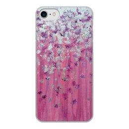 """Чехол для iPhone 8, объёмная печать """"Розовое настроение"""" - любовь, розовый, нежность, серебро, женское"""