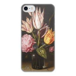 """Чехол для iPhone 8, объёмная печать """"Букет из тюльпанов, роз, клевера, и цикламен"""" - цветы, картина, босхарт"""