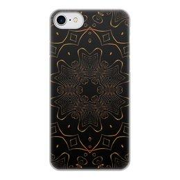 """Чехол для iPhone 8, объёмная печать """"Золотая Вязь"""" - абстракция, digital art, золотое на черном"""
