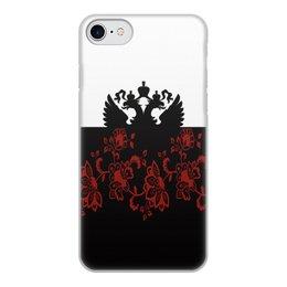 """Чехол для iPhone 8, объёмная печать """"Герб РФ"""" - цветы, россия, герб, орел, хохлома"""