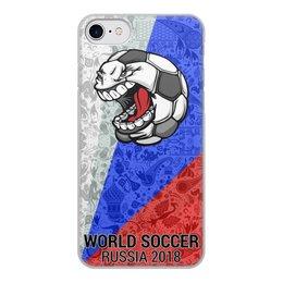"""Чехол для iPhone 8, объёмная печать """"World Soccer 2018"""" - футбол, мундиаль, с юмором, покемяч"""