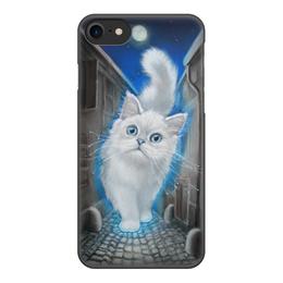 """Чехол для iPhone 8, объёмная печать """"ЛУННЫЙ КОТ"""" - кот, животные, рисунок, сказка"""
