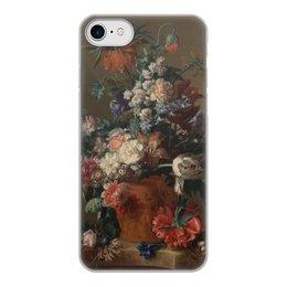 "Чехол для iPhone 8, объёмная печать ""Ваза с цветами (Ян ван Хёйсум)"" - цветы, картина, живопись, натюрморт, ян ван хёйсум"