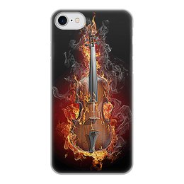 """Чехол для iPhone 8, объёмная печать """"МУЗЫКА ФЭНТЕЗИ"""" - красота, яркость, огонь, скрипка, стиль"""
