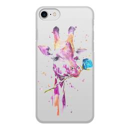 """Чехол для iPhone 8, объёмная печать """"Жираф с розой"""" - любовь, роза, жираф, акварель"""