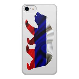 """Чехол для iPhone 8, объёмная печать """"Русский Медведь"""" - bear, медведь, русский, флаг, russian"""
