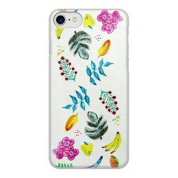 """Чехол для iPhone 8, объёмная печать """"Фрукты"""" - цветы, фрукты, листья, вкусно"""