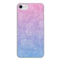 """Чехол для iPhone 8, объёмная печать """"Градиентный узор"""" - узор, голубой, розовый, дудл, градиент"""