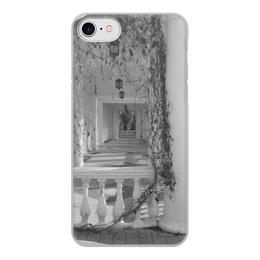 """Чехол для iPhone 8, объёмная печать """"Осень"""" - осень, архитектура, фонари, пустой дом, колонна и растение"""