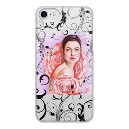 """Чехол для iPhone 8, объёмная печать """"Нежность"""" - девушка, цветы, сиреневый, мода, fashion"""
