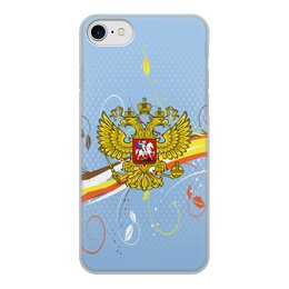 """Чехол для iPhone 8, объёмная печать """"Россия"""" - цветы, россия, герб, орел, хохлома"""