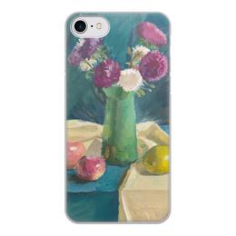 """Чехол для iPhone 8, объёмная печать """"Астры"""" - цветы, яблоко, лимон, натюрморт, живопись"""