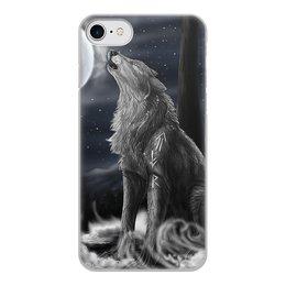 """Чехол для iPhone 8, объёмная печать """"ВОЛКИ ФЭНТЕЗИ"""" - стиль, красота, луна, руны, волчий вой"""