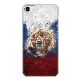 """Чехол для iPhone 8, объёмная печать """"Русский Медведь"""" - футбол, медведь, россия, флаг, триколор"""