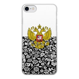 """Чехол для iPhone 8, объёмная печать """"Цветы и герб"""" - цветы, россия, герб, орел, хохлома"""