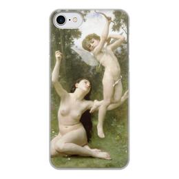 """Чехол для iPhone 8, объёмная печать """"Полёт любви (Вильям Бугро)"""" - картина, живопись, купидон, амур, бугро"""