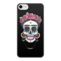 """Чехол для iPhone 8, объёмная печать """"Фрида"""" - череп, цветы, яркий, розы, фрида"""