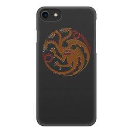 """Чехол для iPhone 8, объёмная печать """"Fire and Blood"""" - game of thrones, таргариены, дайнерис, кровь и огонь"""