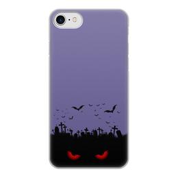 """Чехол для iPhone 8, объёмная печать """"Взгляд оттуда"""" - хэллоуин, рисунок, взгляд, летучие мыши, кладбище"""