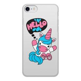 """Чехол для iPhone 8, объёмная печать """"Unicorn"""" - надпись, привет, голубой, единорог, розовый"""