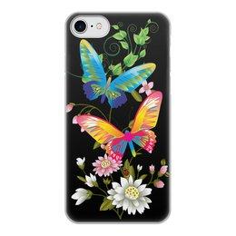 """Чехол для iPhone 8, объёмная печать """"БАБОЧКИ ФЭНТЕЗИ"""" - бабочки, цветы, стиль, красота, яркость"""