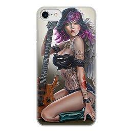 """Чехол для iPhone 8, объёмная печать """"МУЗЫКА ФЭНТЕЗИ"""" - девушка, гитара, стиль, красота, татуировка"""