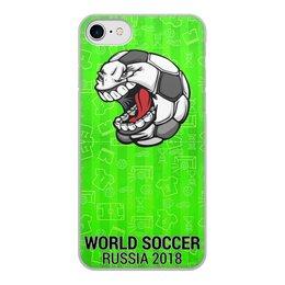 """Чехол для iPhone 8, объёмная печать """"World Soccer 2018"""" - футбол, мяч, мундиаль, с юмором"""