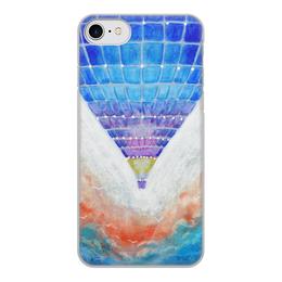"""Чехол для iPhone 8, объёмная печать """"Воздушный шар. Рисунок от руки. Акварель"""" - арт, яркий, шар, путешествие, воздушный"""