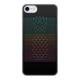 """Чехол для iPhone 8, объёмная печать """"Неоновый ананас """" - фрукты, ананас, неон, минимализм, линии"""