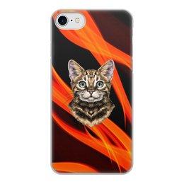 """Чехол для iPhone 8, объёмная печать """"Без названия"""" - кот, животные, котенок, огонь, пламя"""