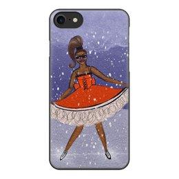 """Чехол для iPhone 8, объёмная печать """"На льду"""" - девушка, зима, снег, лед, фигурноекатание"""