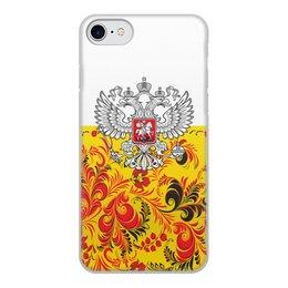 """Чехол для iPhone 8, объёмная печать """"Хохлома"""" - цветы, россия, герб, орел, хохлома"""
